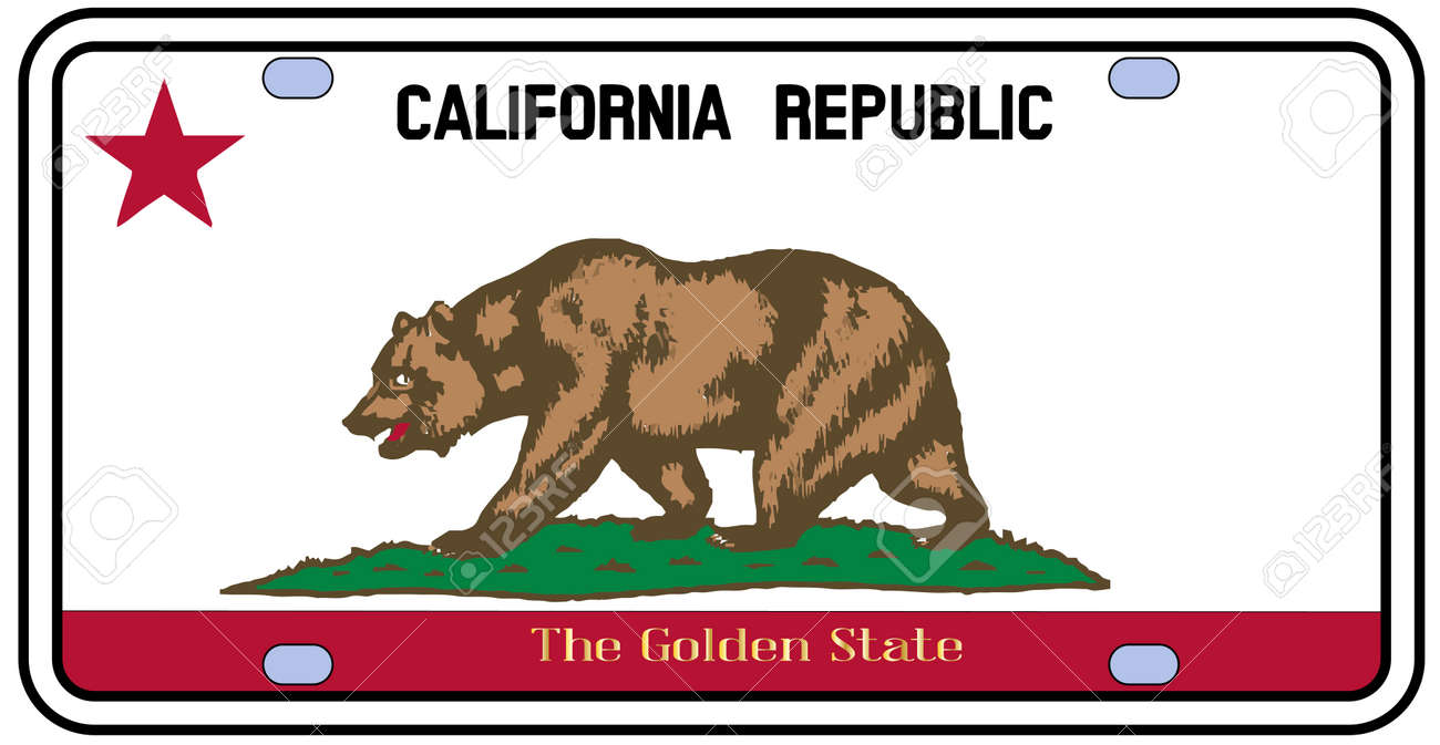 california license plate in the colors of the state flag with rh 123rf com california flag vector art california flag vector free download