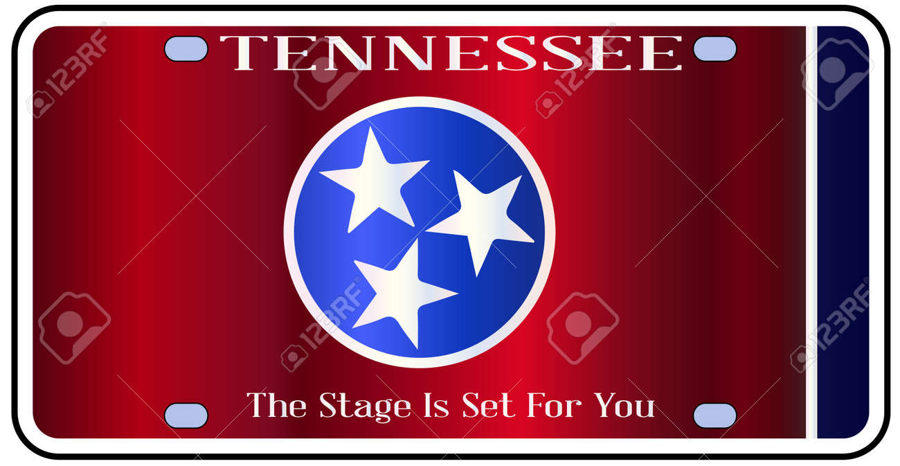 Tennessee State License Plate In The Colors Of The State Flag ...