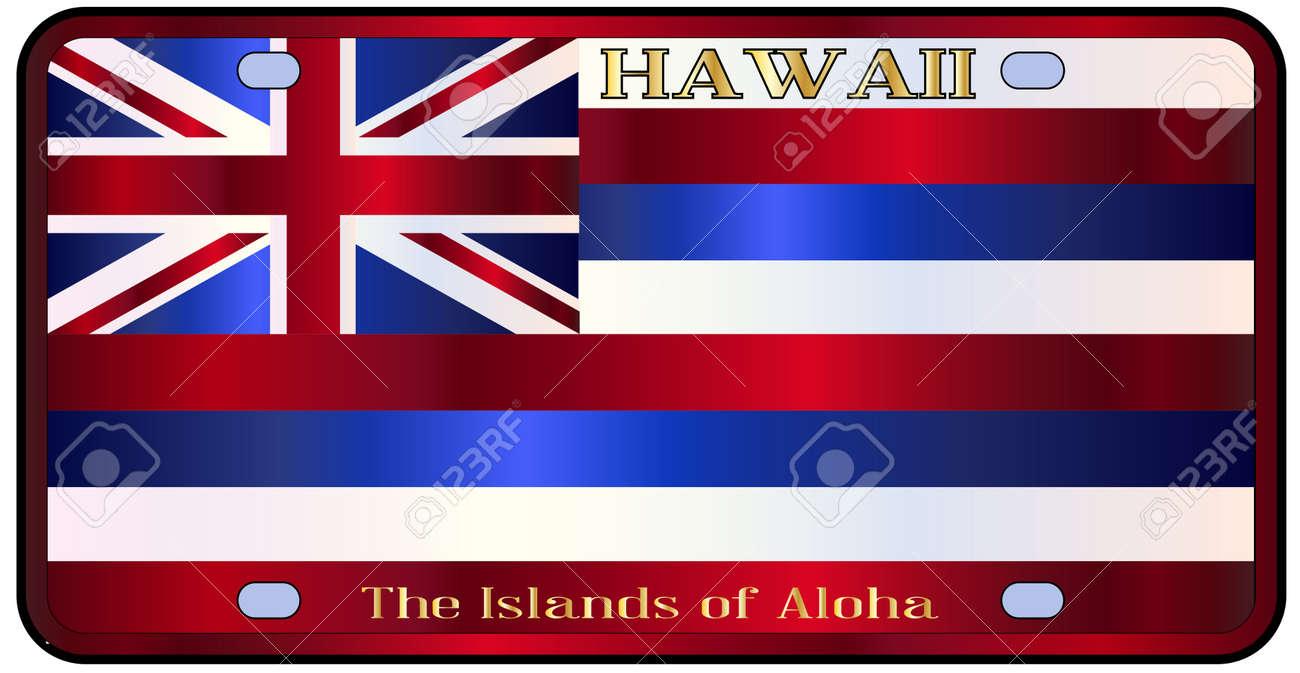 Hawaii Staat-Kfz-Kennzeichen In Den Farben Der Staatsflagge Mit Den ...
