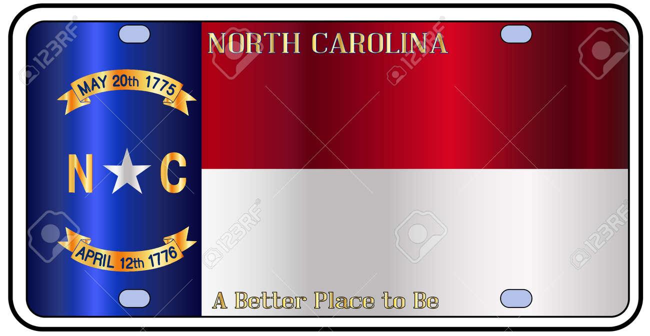 North Carolina-Kfz-Kennzeichen In Den Farben Der Staatsflagge Mit ...