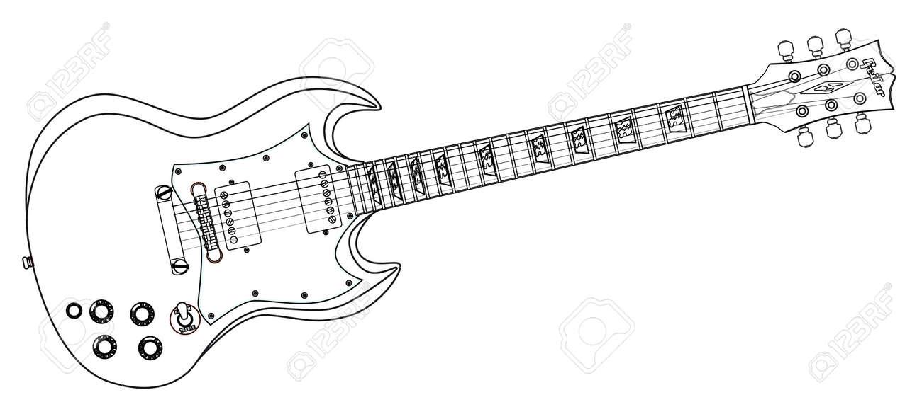 Un Cuerpo Sólido De La Guitarra Eléctrica Dibujo De Líneas En Un Fondo Blanco