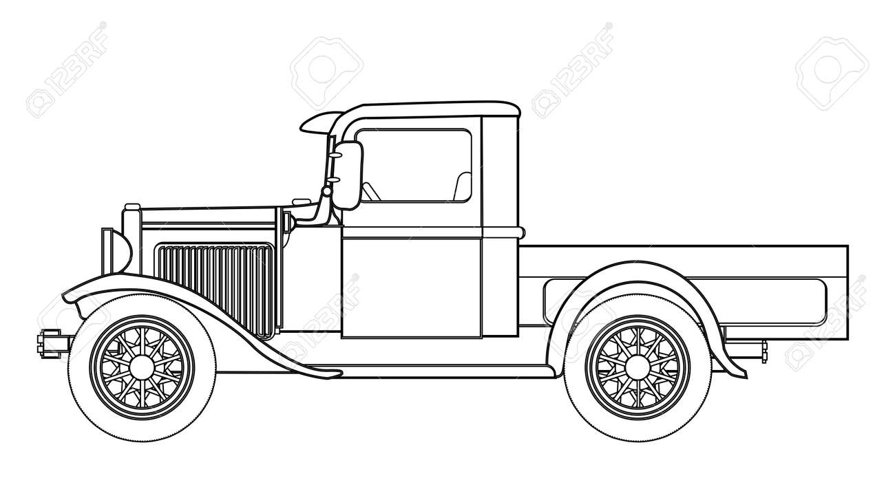 An Early Old Fashioned Pickup Truck Over A White Background Royalty ...