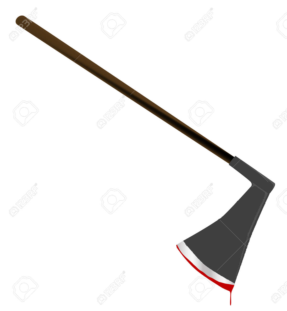A medievil style executioners axe with blood isolated on a white background - 73557511