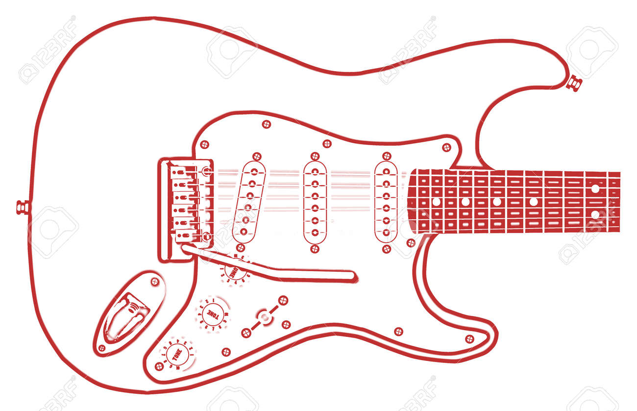 Outline Drawing Of A Typical Electric Guitar On A White Background