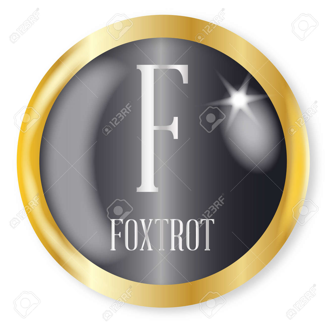F For Foxtrot Button From The Nato Phonetic Alphabet With A Gold Royalty Free Cliparts Vectors And Stock Illustration Image 76824913