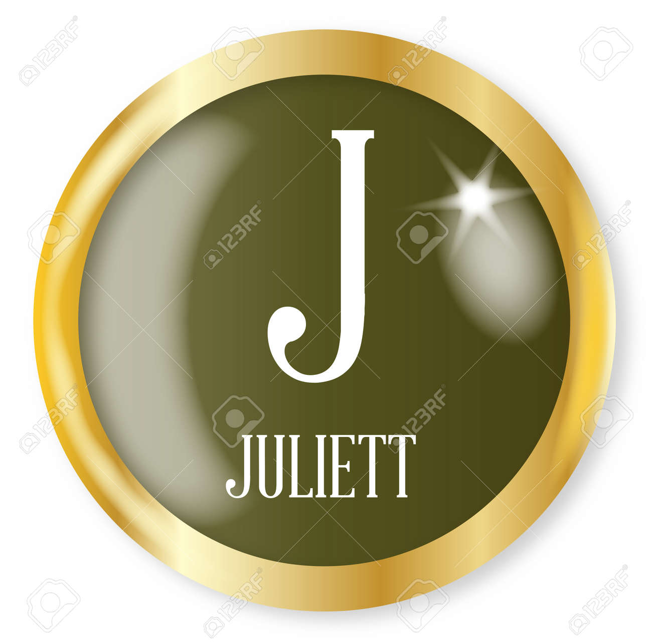 J For Juliett Button From The Nato Phonetic Alphabet With A Gold Royalty Free Cliparts Vectors And Stock Illustration Image 77061410