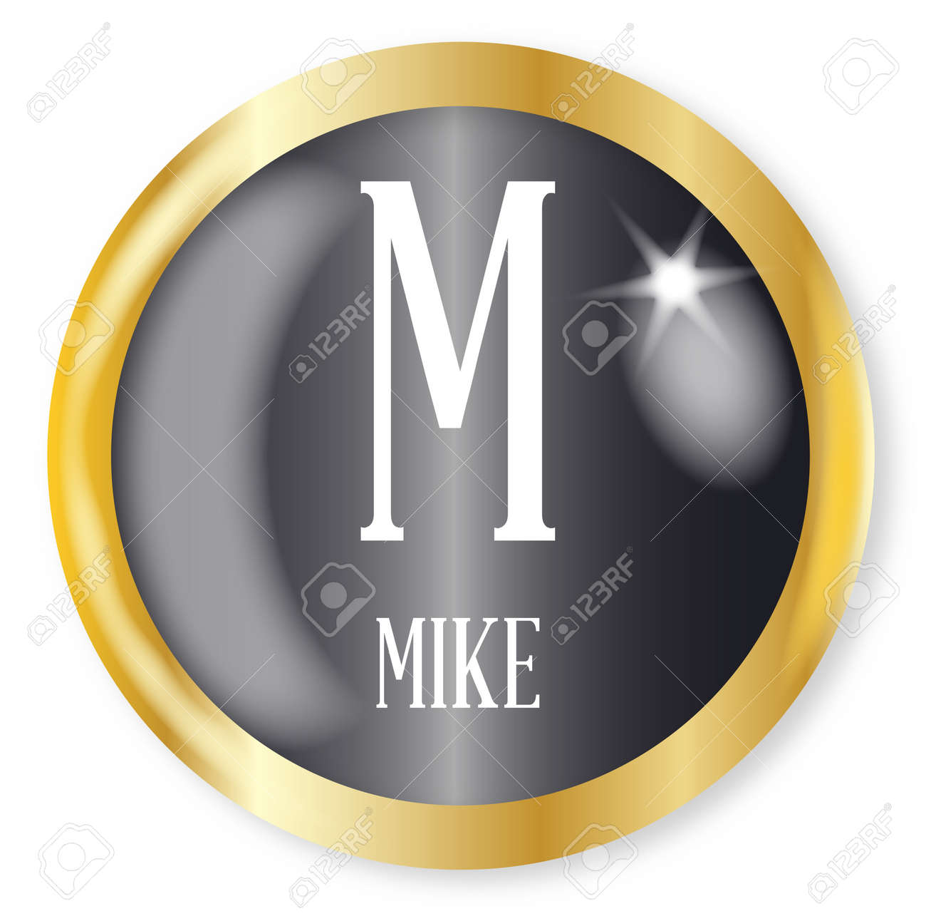 M For Mike Button From The Nato Phonetic Alphabet With A Gold Royalty Free Cliparts Vectors And Stock Illustration Image 77062484