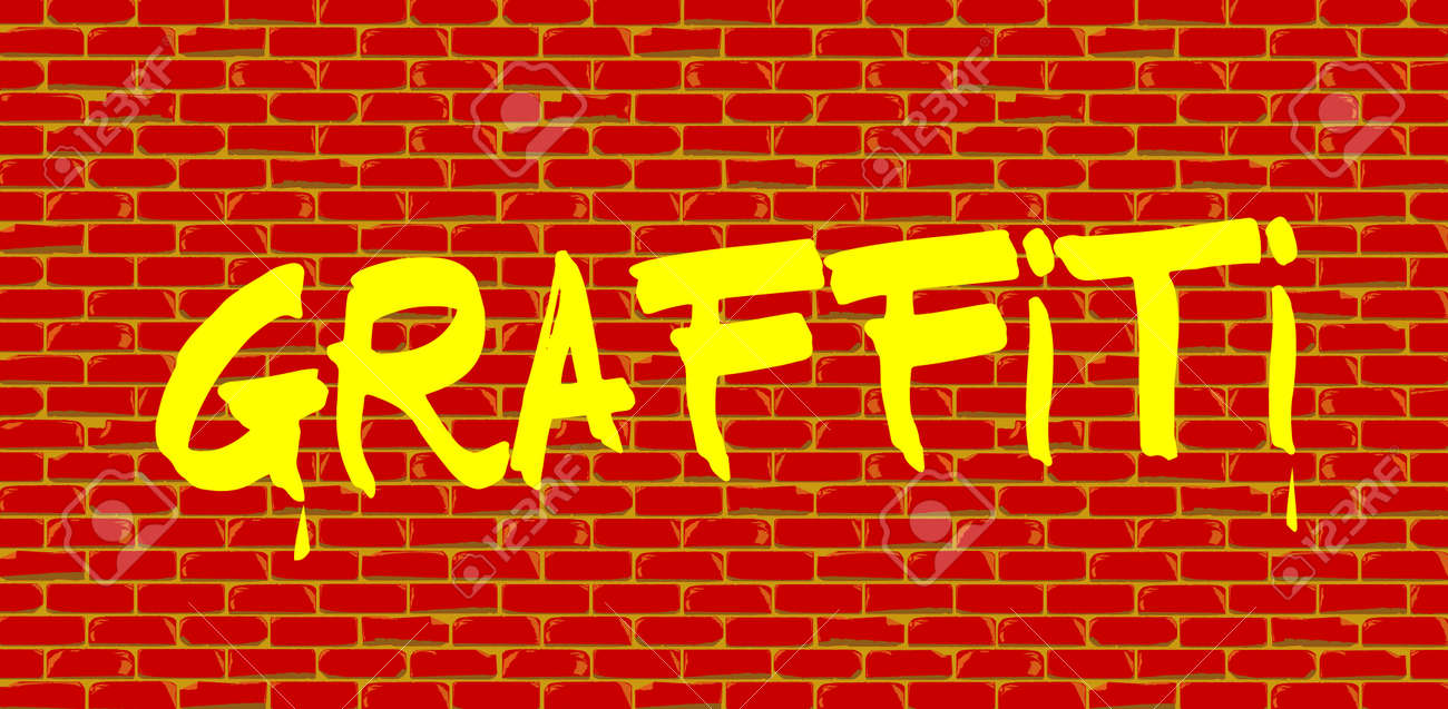The Word Graffiti Painted Onto A Red Brick Wall In Yellow Paint Stock Vector