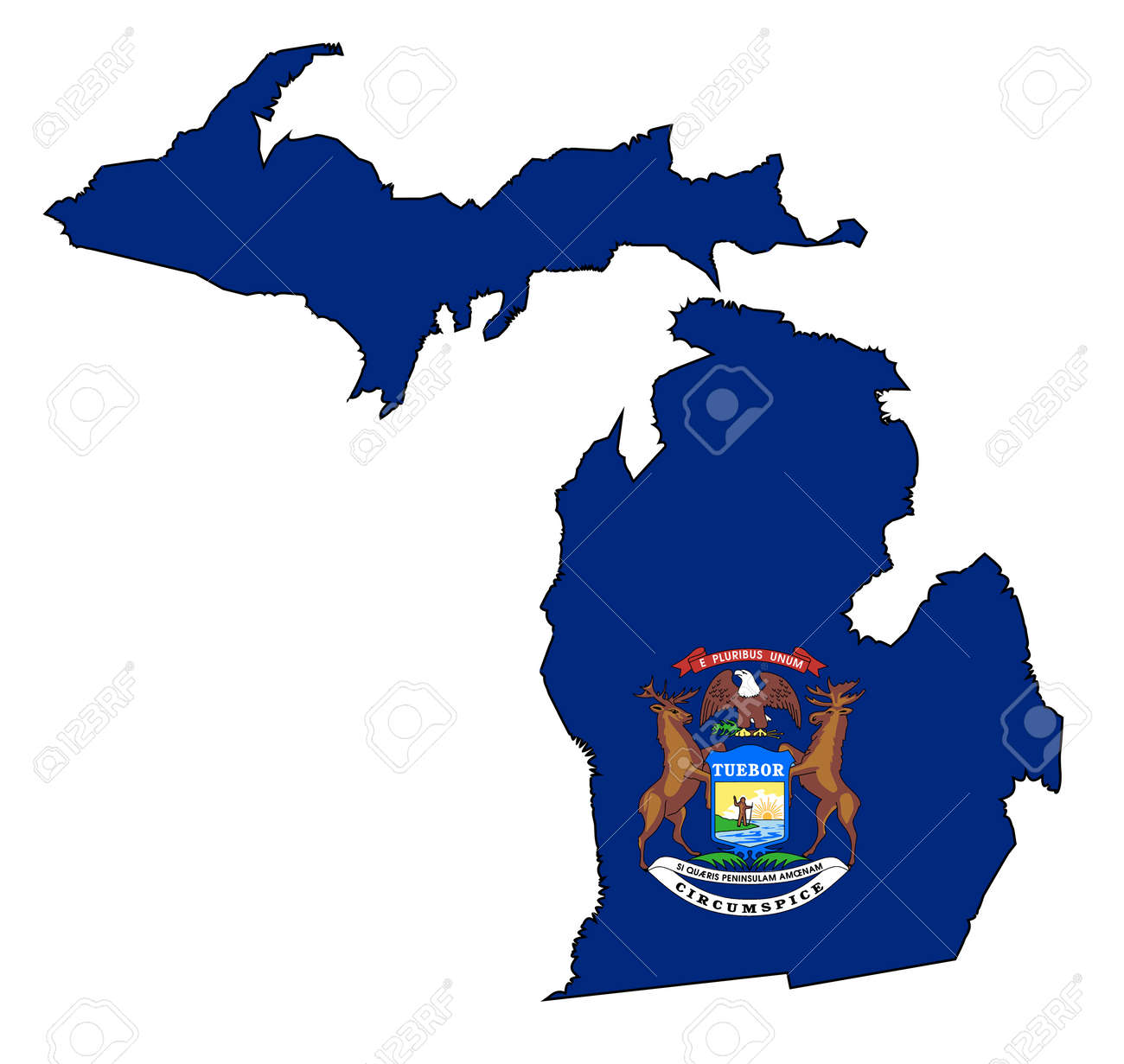Outline Map Of The State Of Michigan With Map Inset Royalty Free ...