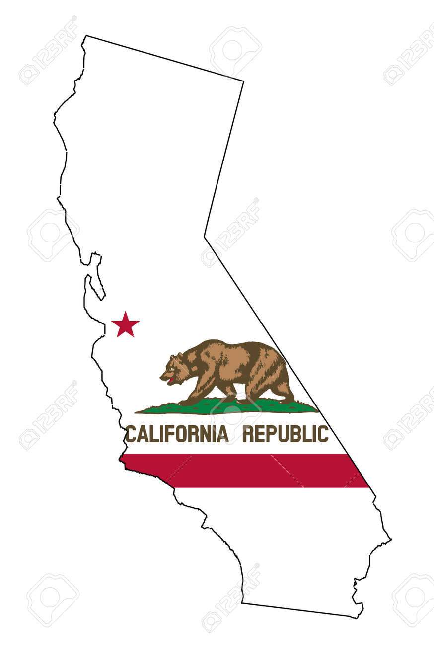 State Map Outline Of California Over A White Background With