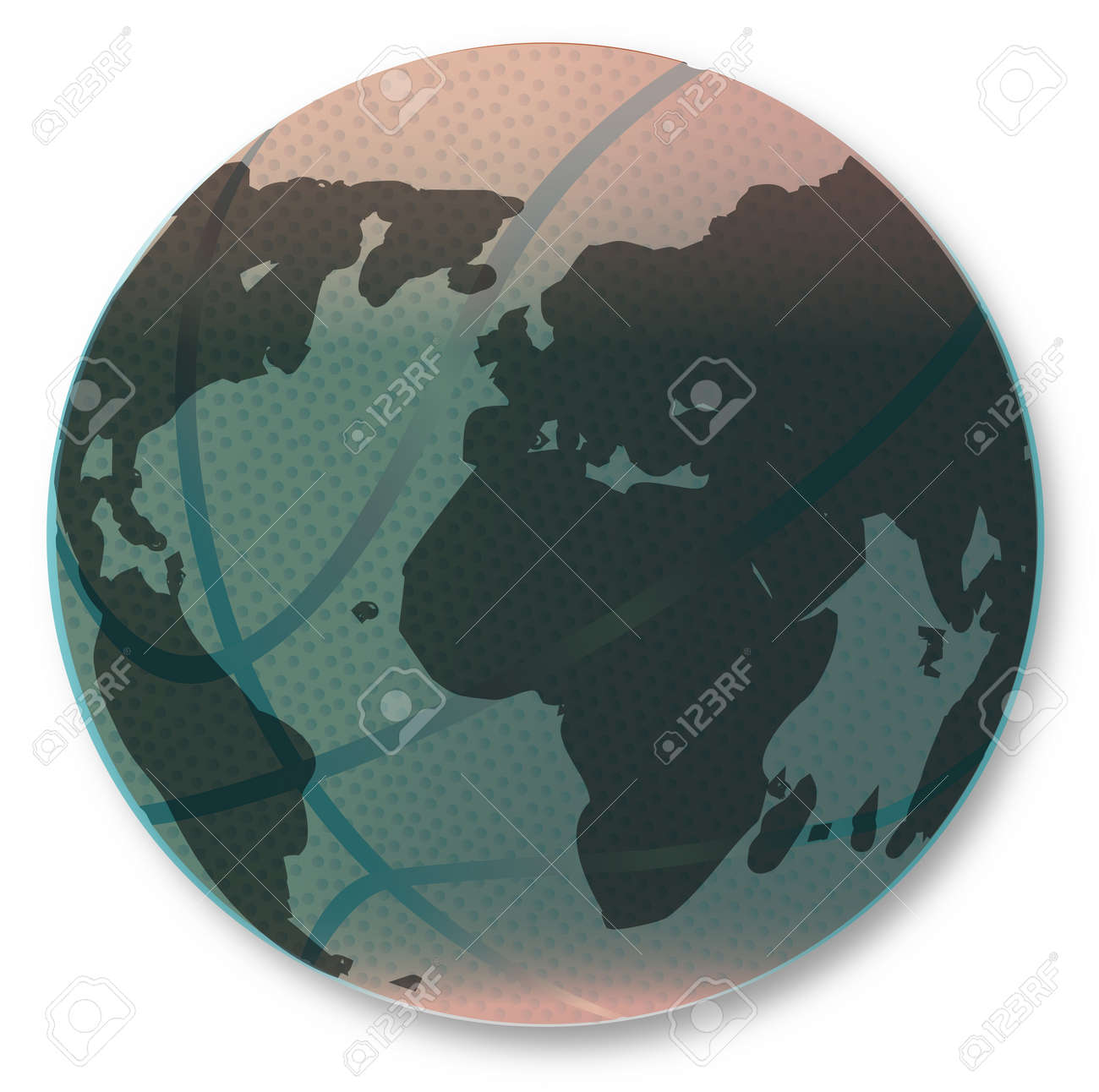 a large brown basketball with dimples and earth globe map isolated on a white background