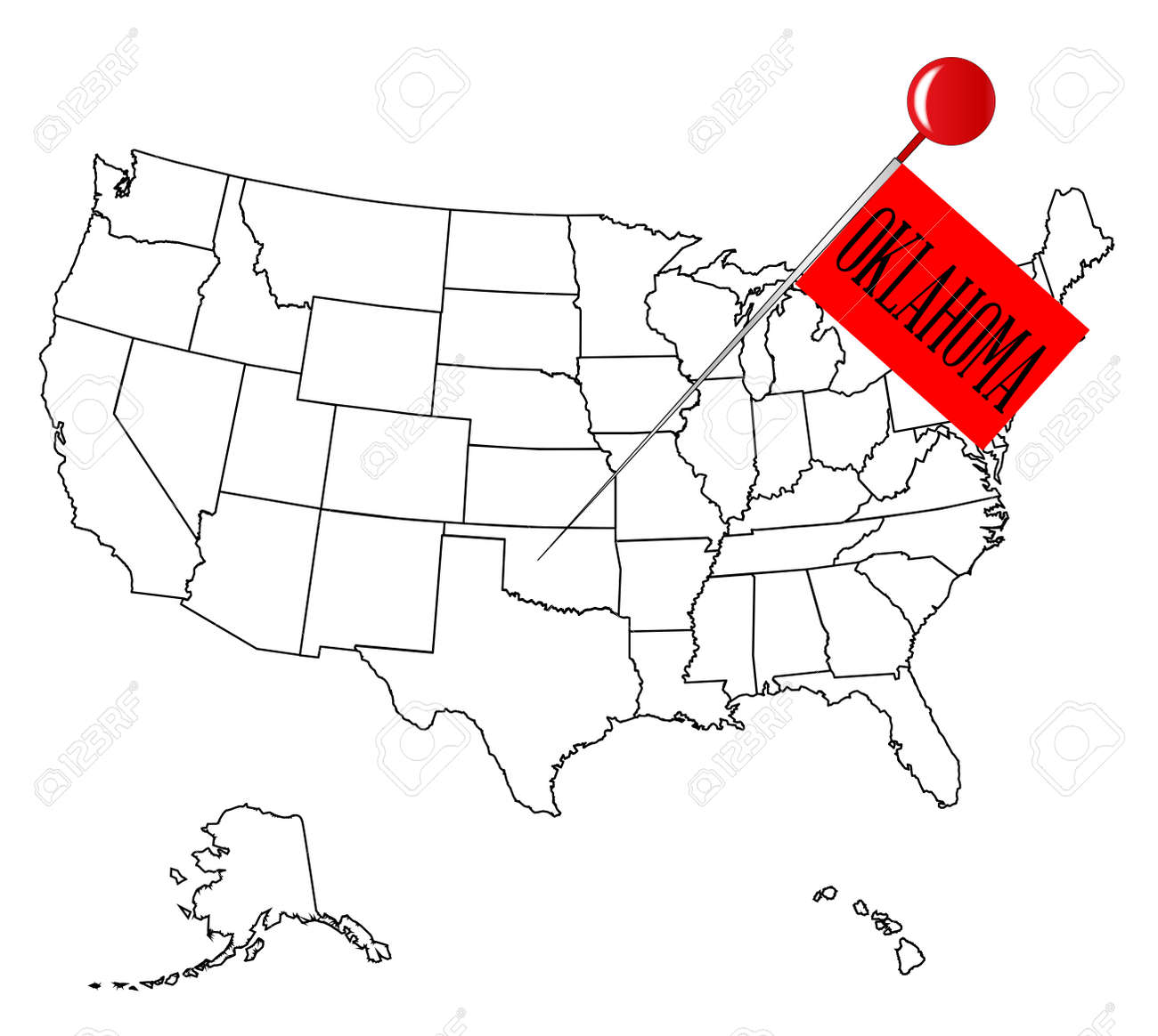 an outline map of usa with a knob pin in the state of oklahoma stock vector