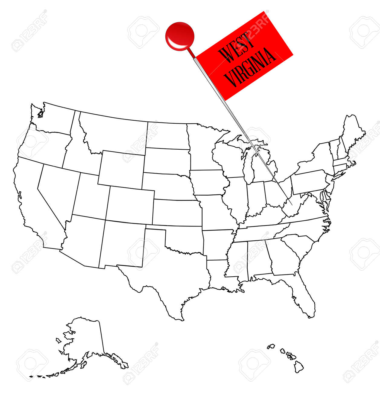 Outline Map Of Virginia.An Outline Map Of Usa With A Knob Pin In The State Of West Virginia