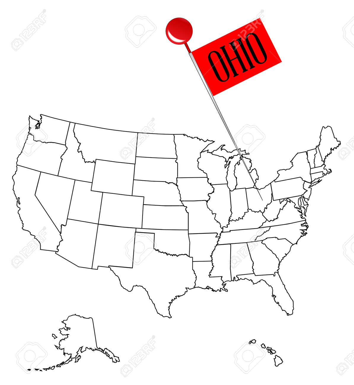 Outline Map Of Ohio.An Outline Map Of Usa With A Knob Pin In The State Of Ohio Royalty