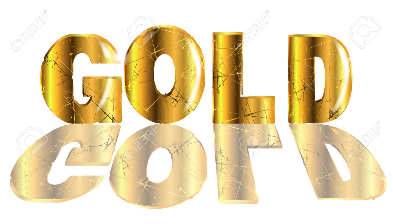 the word gold in gold text isolated over a white backround royalty