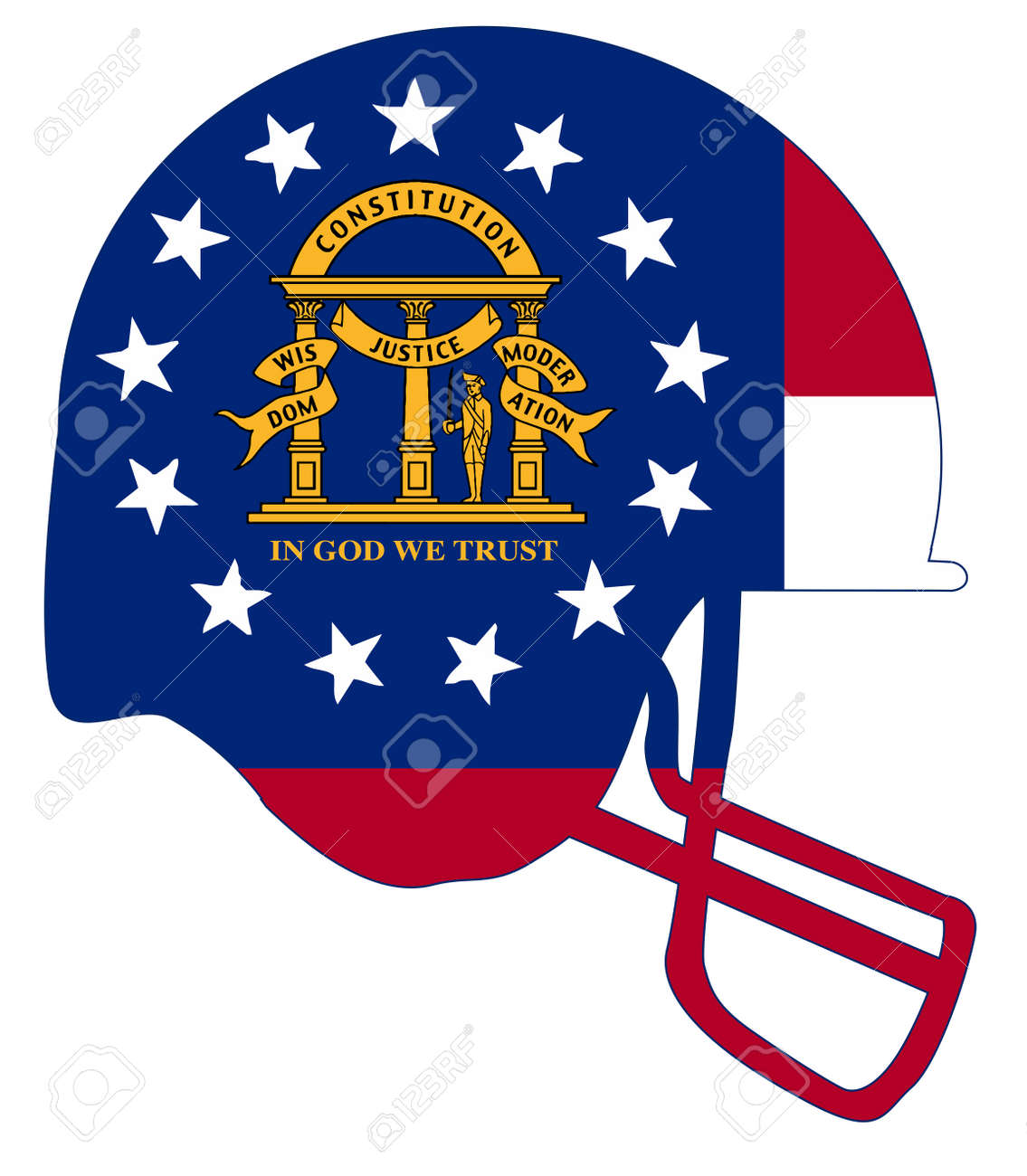 The Flag Of The Usa State Of Georgia Below A Football Helmet Silhouette Stock Vector