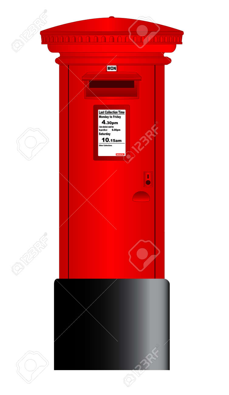 Royal Mail Letter Box.A Typical British Royal Mail Post Box Isolated Over A White Background