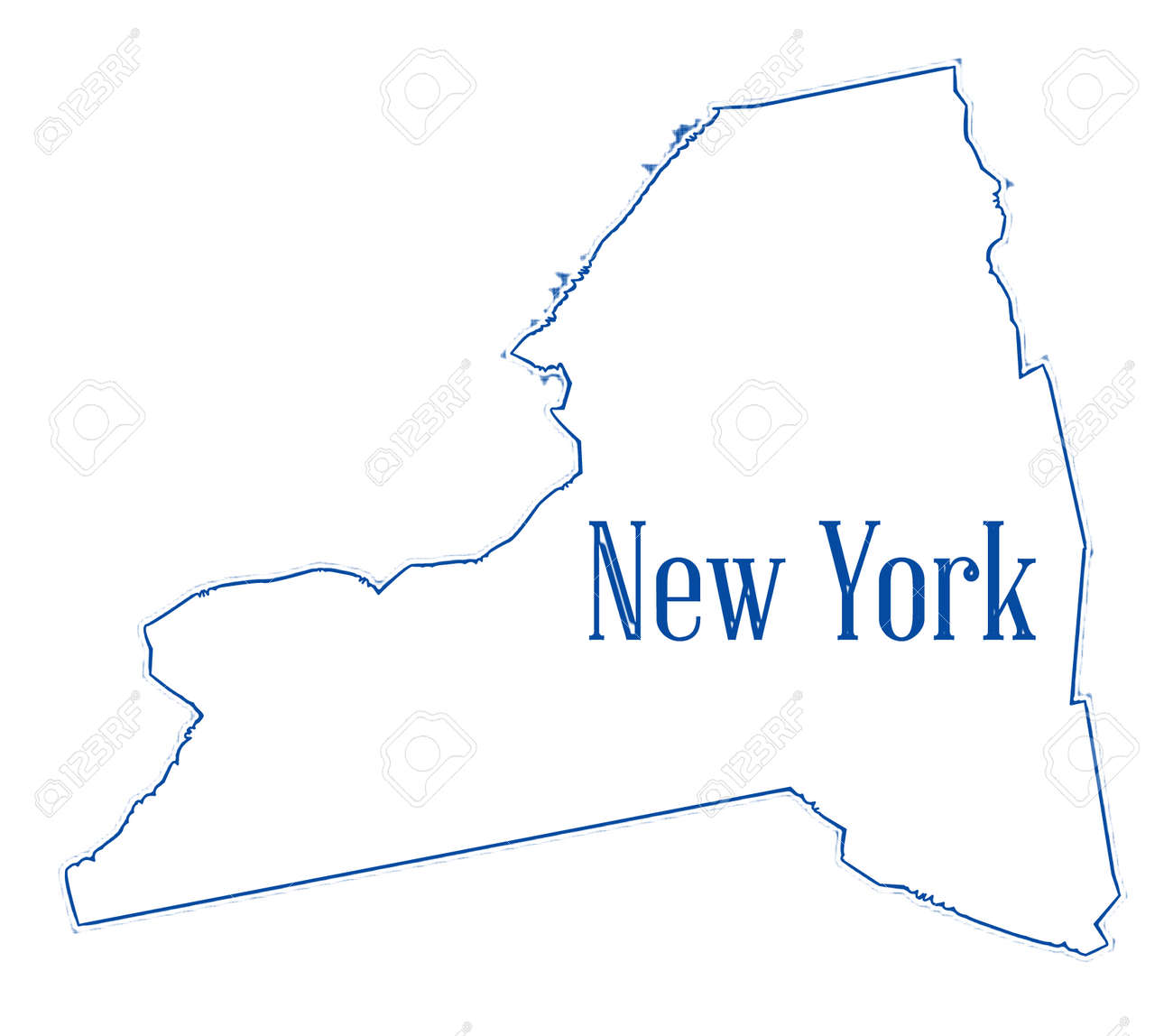 State Map Outline Of New York Over A White Background Stock Photo