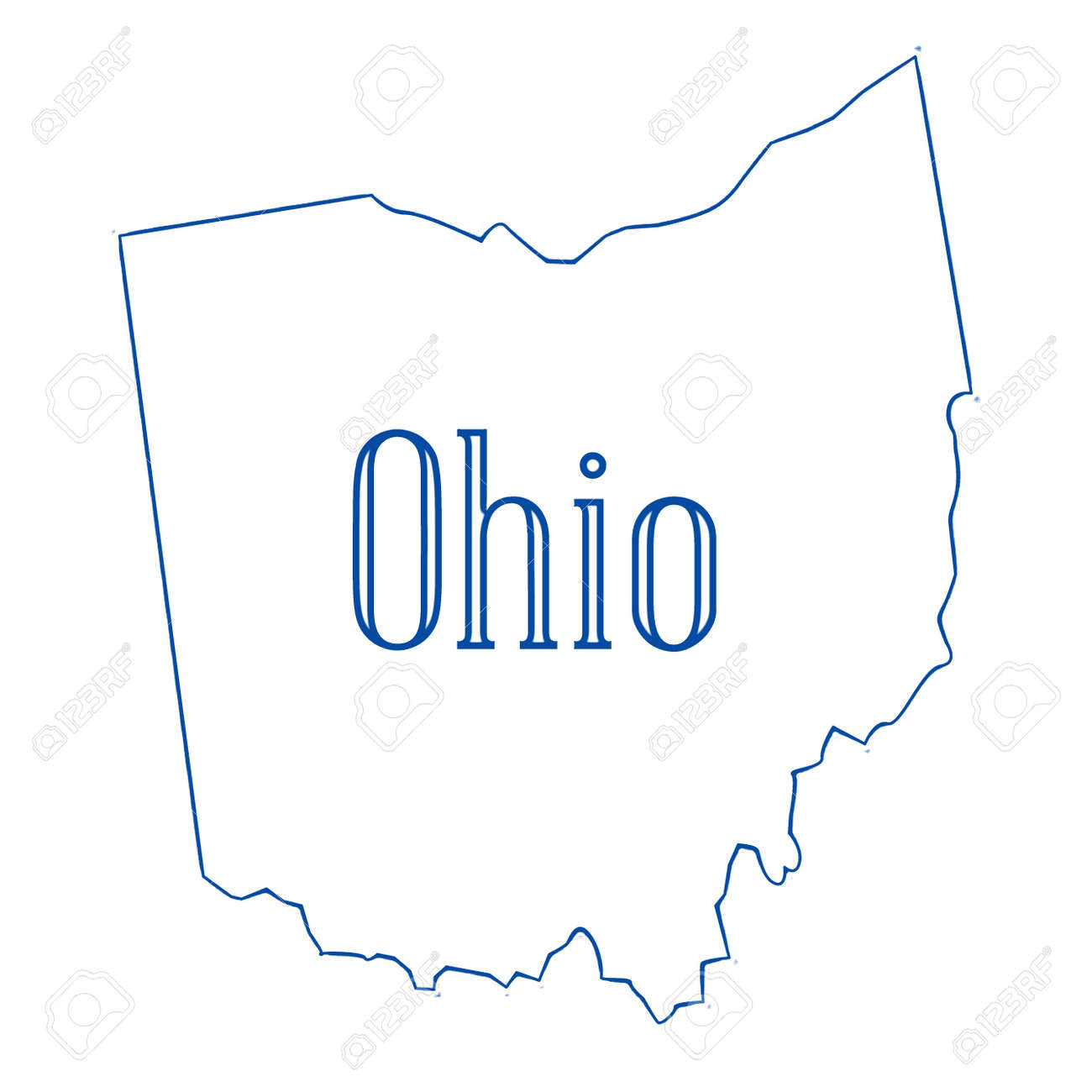 Outline Map Of Ohio.Outline Map Of The State Of Ohio Stock Photo Picture And Royalty