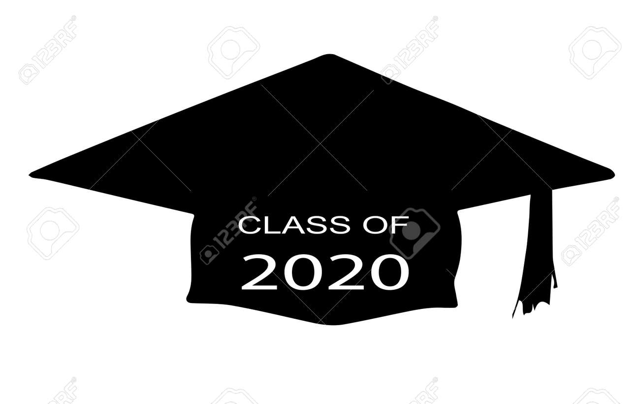 Graduation Background 2020.A Cap With The Legend Class Of 2020 Over A White Background