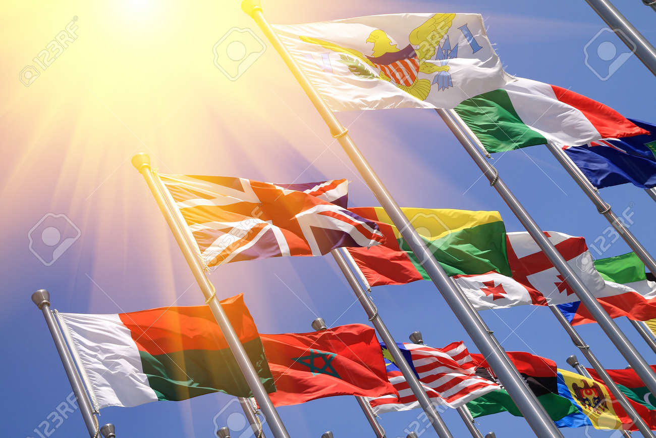 UK and world national flags is flying Stock Photo - 17024123