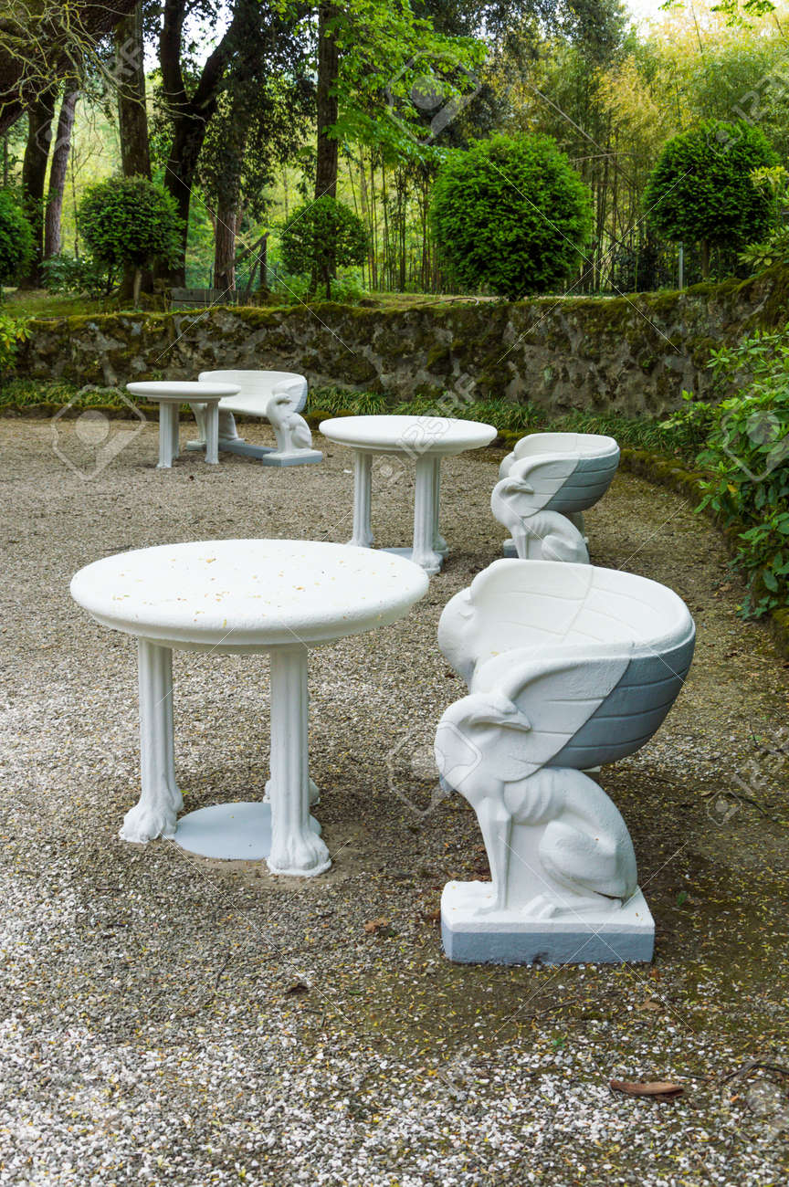 White Stone Benches With Sculpted Griffin Shape Architecture