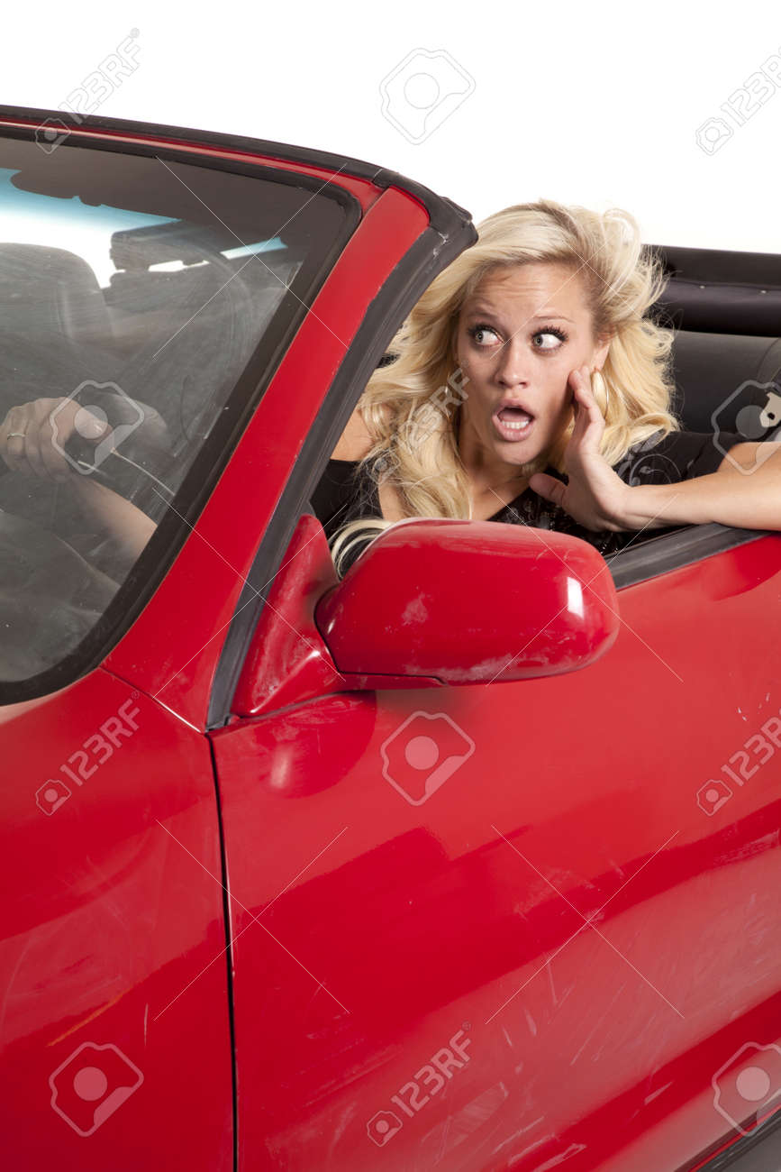 A woman is in her car about to get in a crash. Stock Photo - 12104386