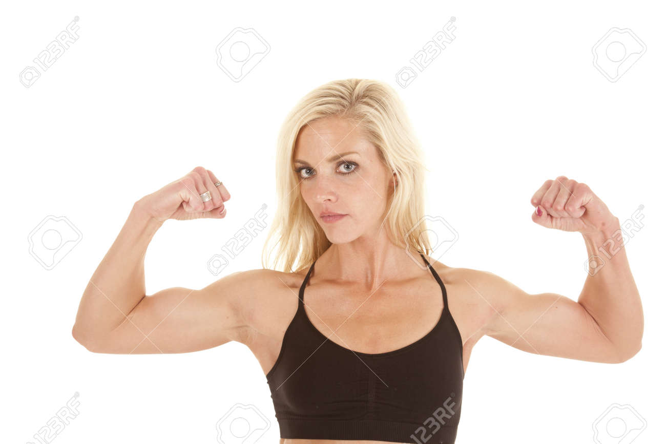 A Woman Flexing Her Arms Showing Off Her Nice Biceps Stock Photo 16035389