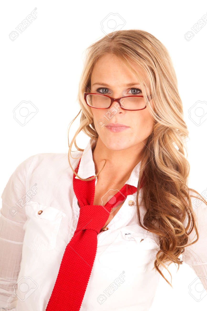 A Woman In A White Shirt And Red Tie And Glasses. Stock Photo ...