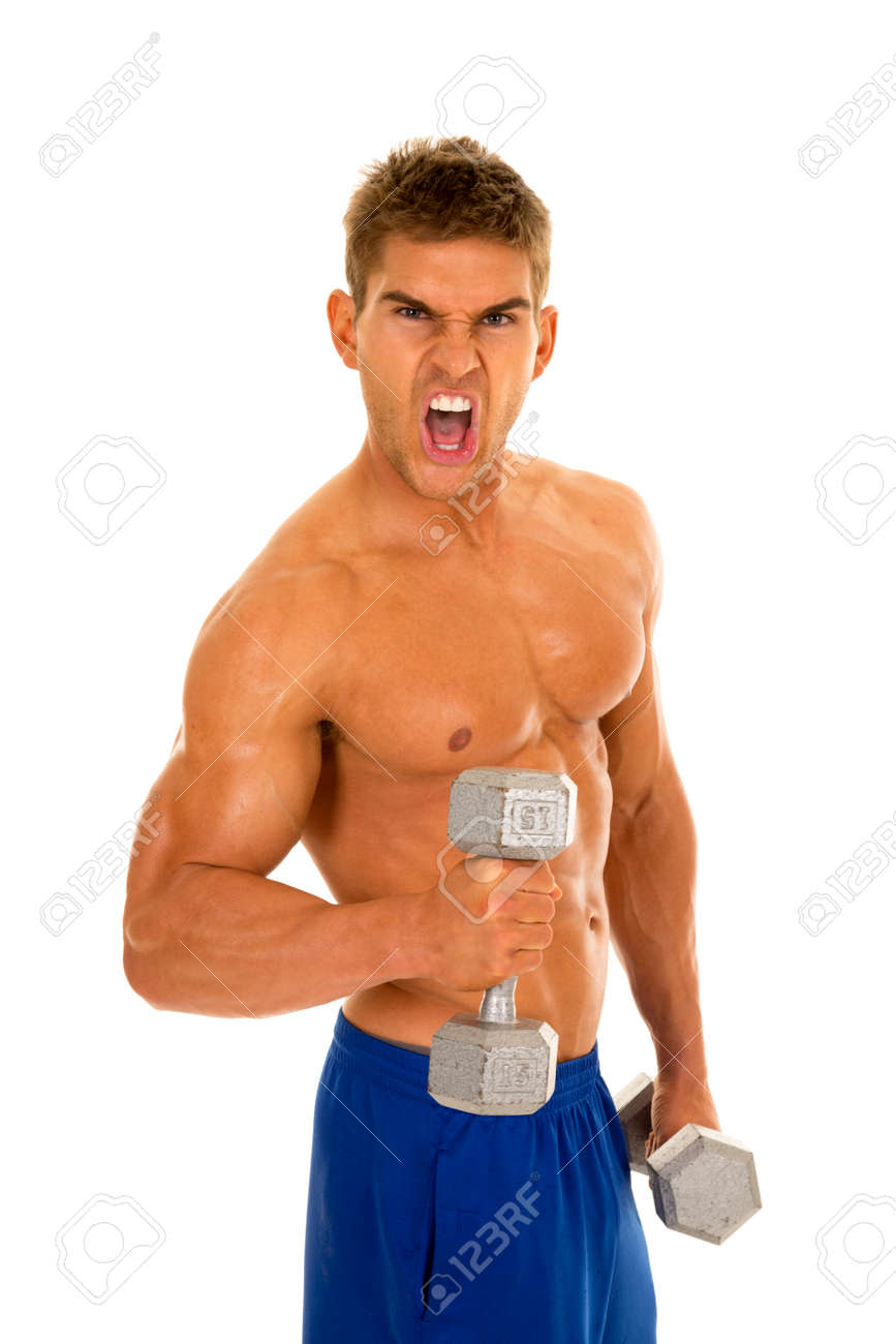 A Man With No Shirt On With An Intense Expression Holding On Stock