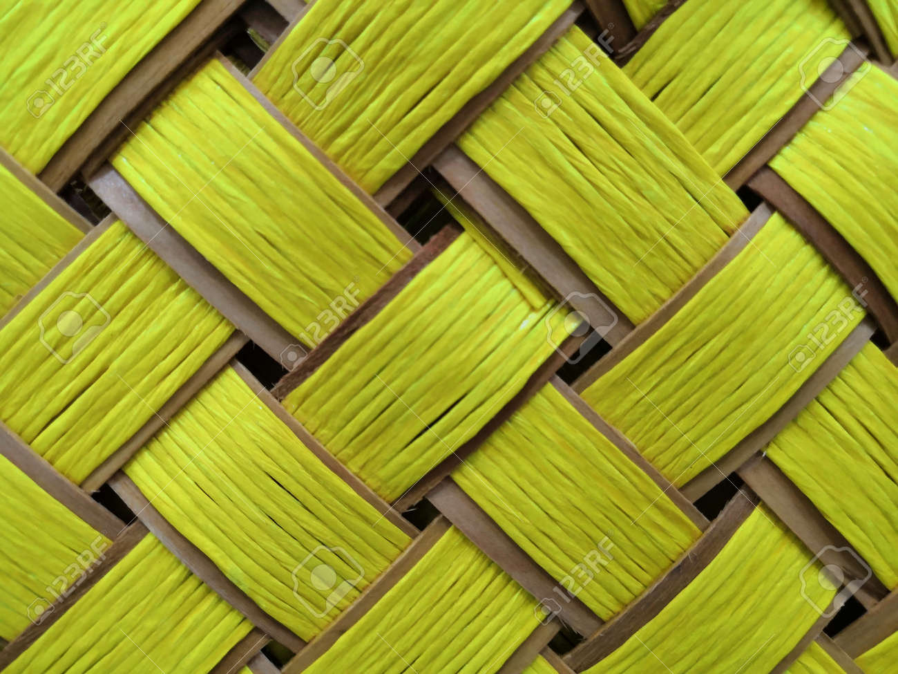 Wood Bright yellow plank bamboo mat texture background. wooden..