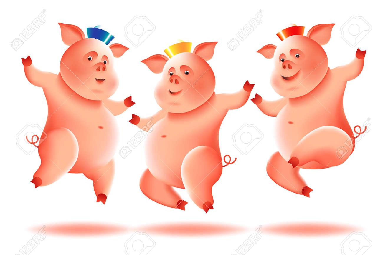 Three Cheerful Little Piggies On White Background Chinese New