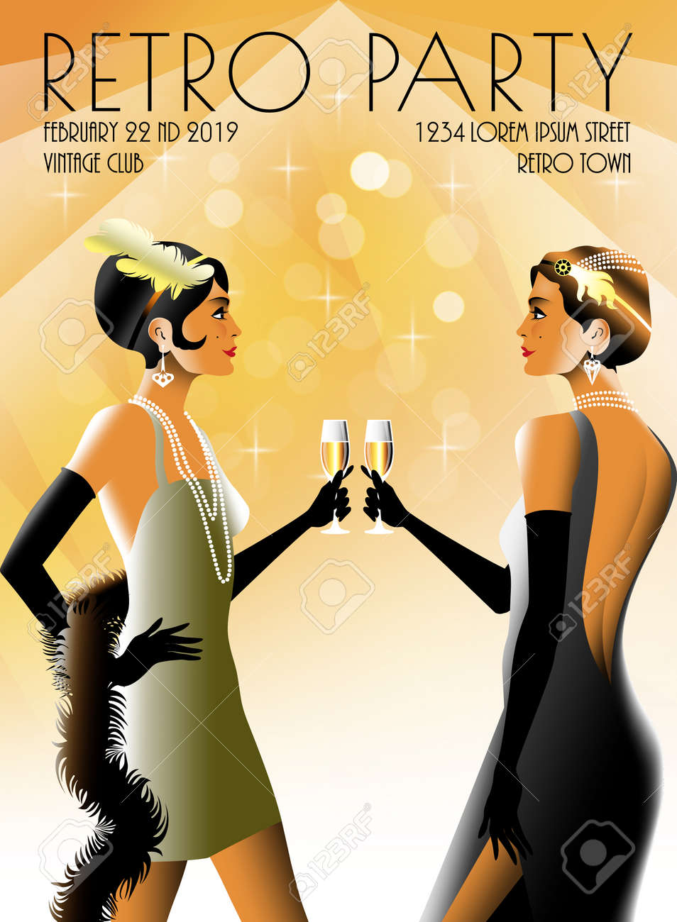2 Flapper Girls At A Party In The Style Of The Early 20th Century
