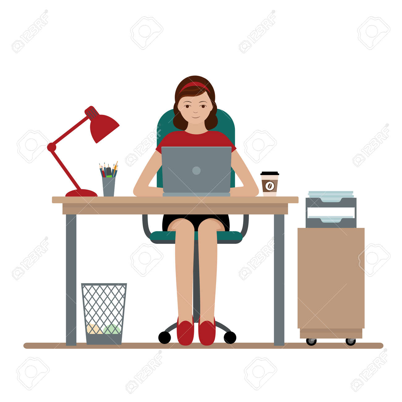 office furniture women ergonomic chairs business woman or clerk working at her office desk flat style modern vector illustration woman or clerk working at her office desk style