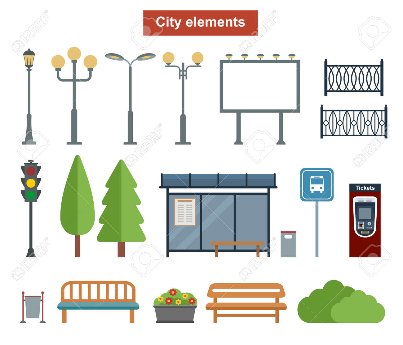 City and outdoor elements for construction of landscapes, Vector flat illustration - 64601559