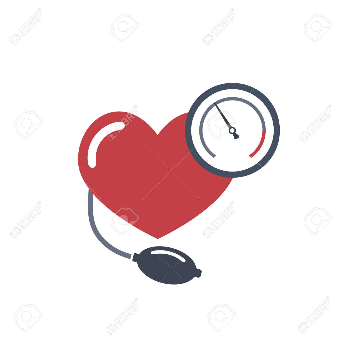 Heart, blood pressure measuring. Vector flat image on white background. - 77264796