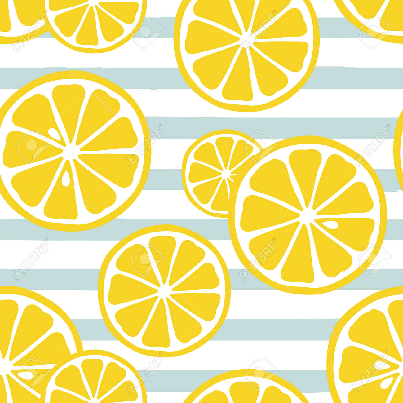 Cute Yellow Lemon Slices On A Striped Blue Background Great