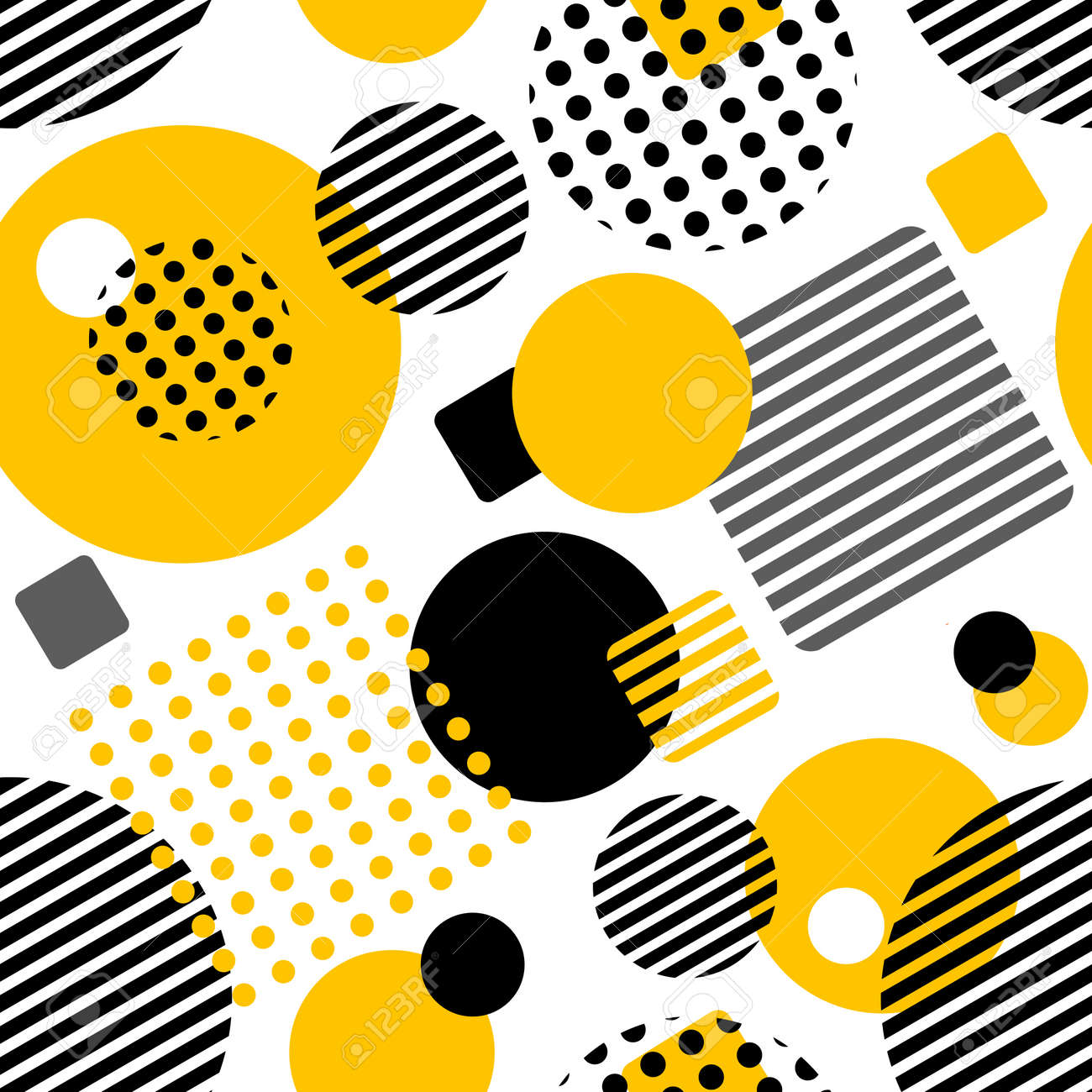Geometric seamless pattern with circles, squares, stripes and dots. Pattern for fashion and wallpaper. Vector illustration. - 92711972