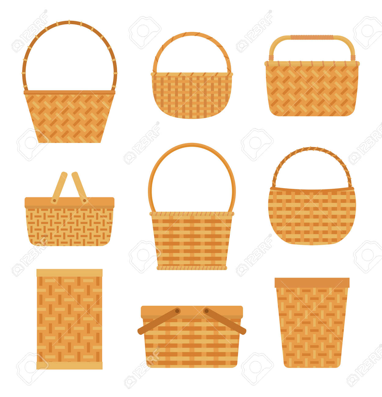 Collection of empty baskets, isolated on white background. Flat style vector illustration. - 96251493