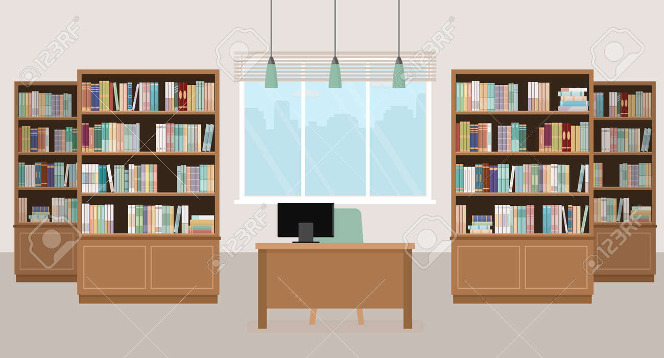 Modern library empty interior with bookcases, table, chair and computers. Vector illustration. - 108470823