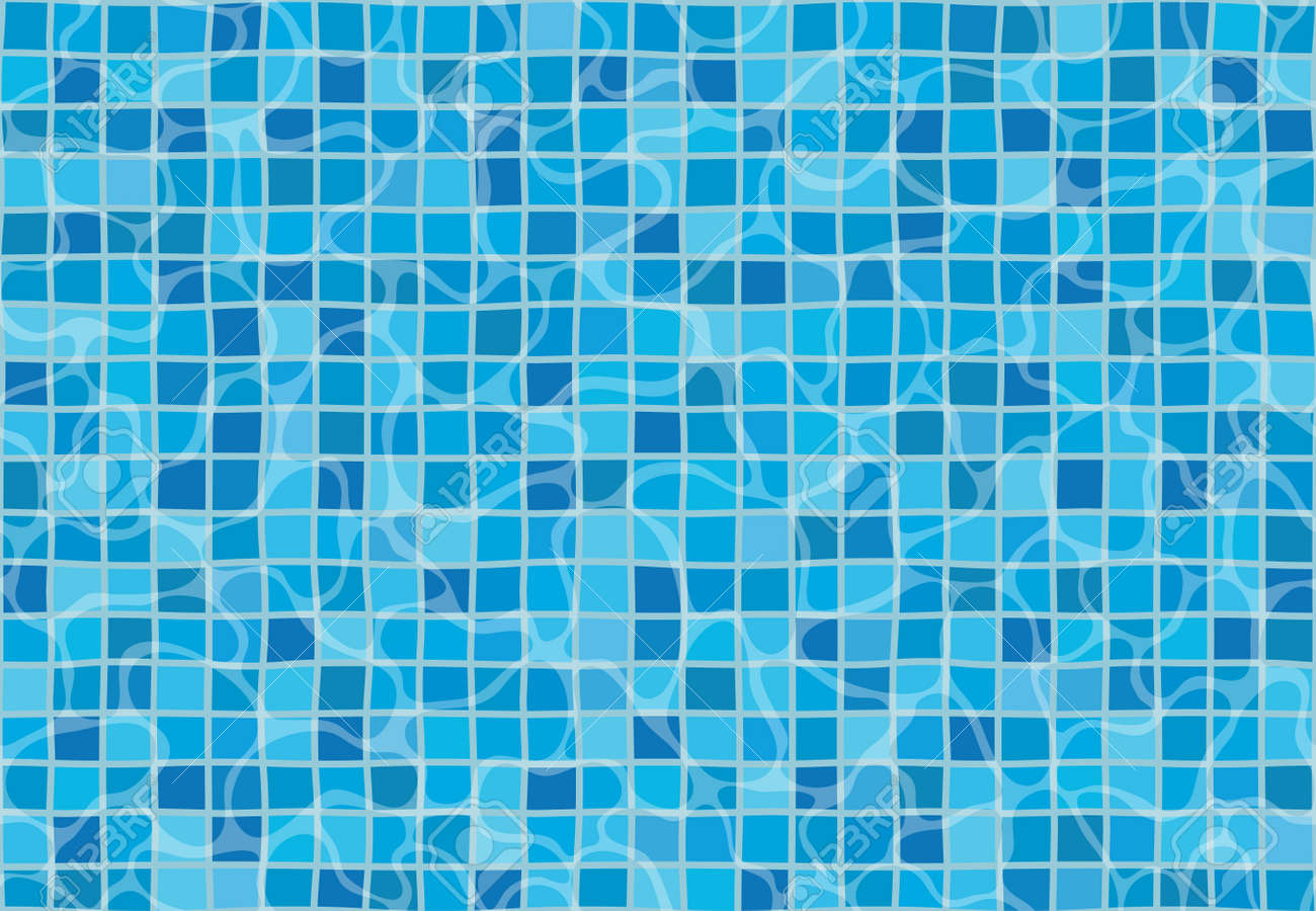 Swimming pool with mosaic tiles. Overhead view. Texture of water..