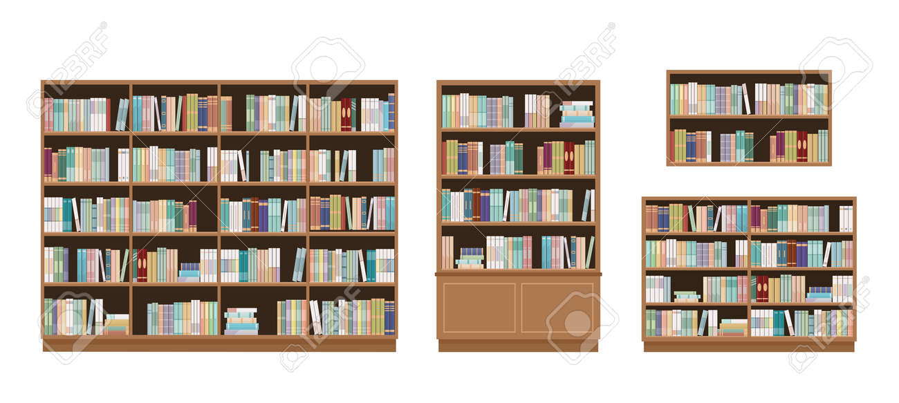 Bookcases and bookshelves full of books. Isolated on white background. Education library and bookstore concept. Vector illustration. - 135956813