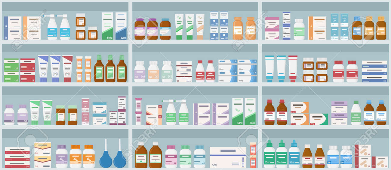 Pharmacy shelves with medicines. Concept of pharmaceutics and medication. Seamless pattern. Vector illustration. - 136309828