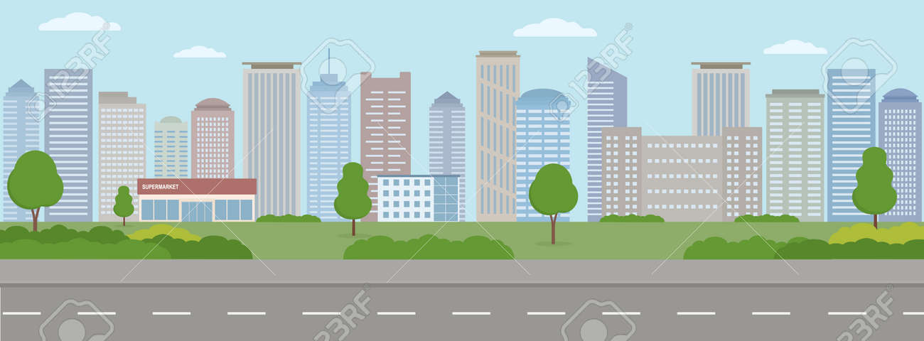 Empty modern city. City life illustration with house facades, road and other urban details. Panoramic view. Flat style, vector illustration. - 149435920