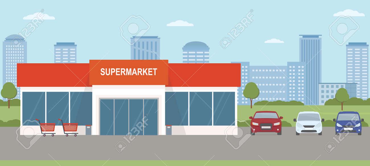 Supermarket building with parking lot. Urban landscape. Flat style, vector illustration. - 150106792
