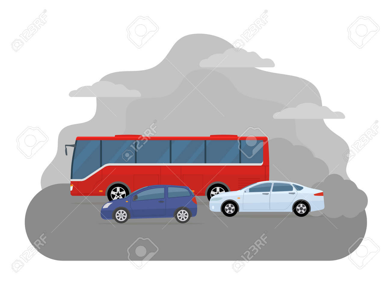 Pollution from the exhaust of cars. Ecology problems concept. Flat style, vector illustration. - 149493903