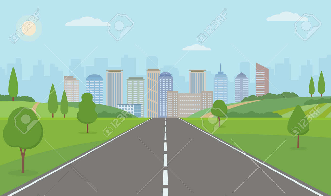Road to City. Straight empty road through the meadow. Summer landscape vector illustration. - 149494280