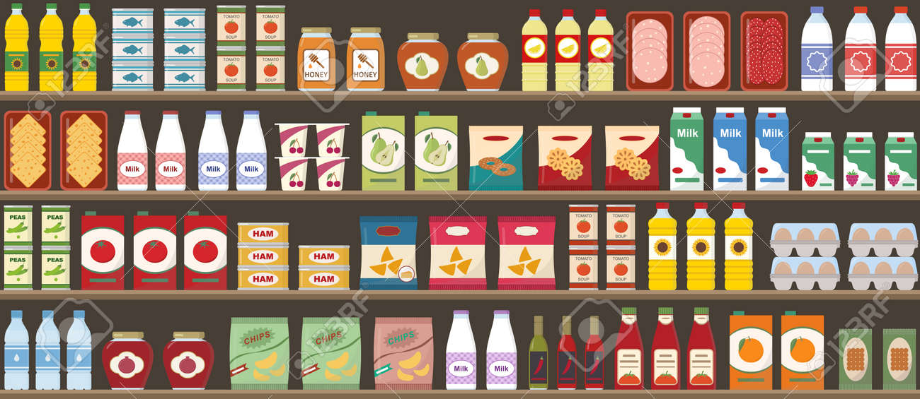 Supermarkets shelves with products and drinks. Seamless pattern. Shopping and food retail concept. Vector illustration. - 151131658