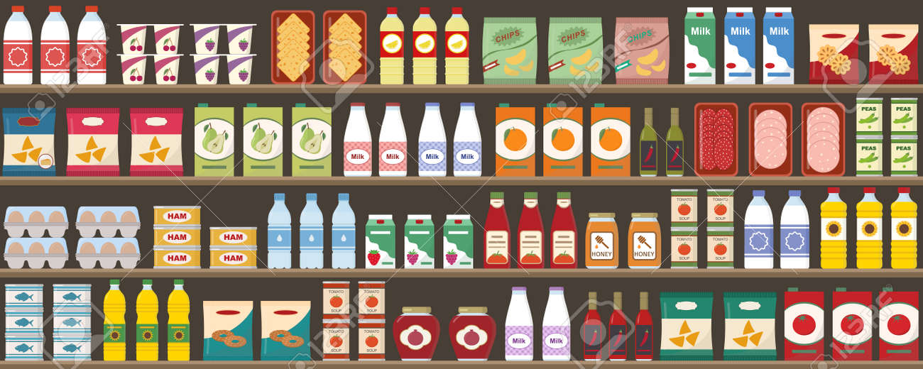 Supermarkets shelves with products and drinks. Seamless pattern. Shopping and food retail concept. Vector illustration. - 155874975