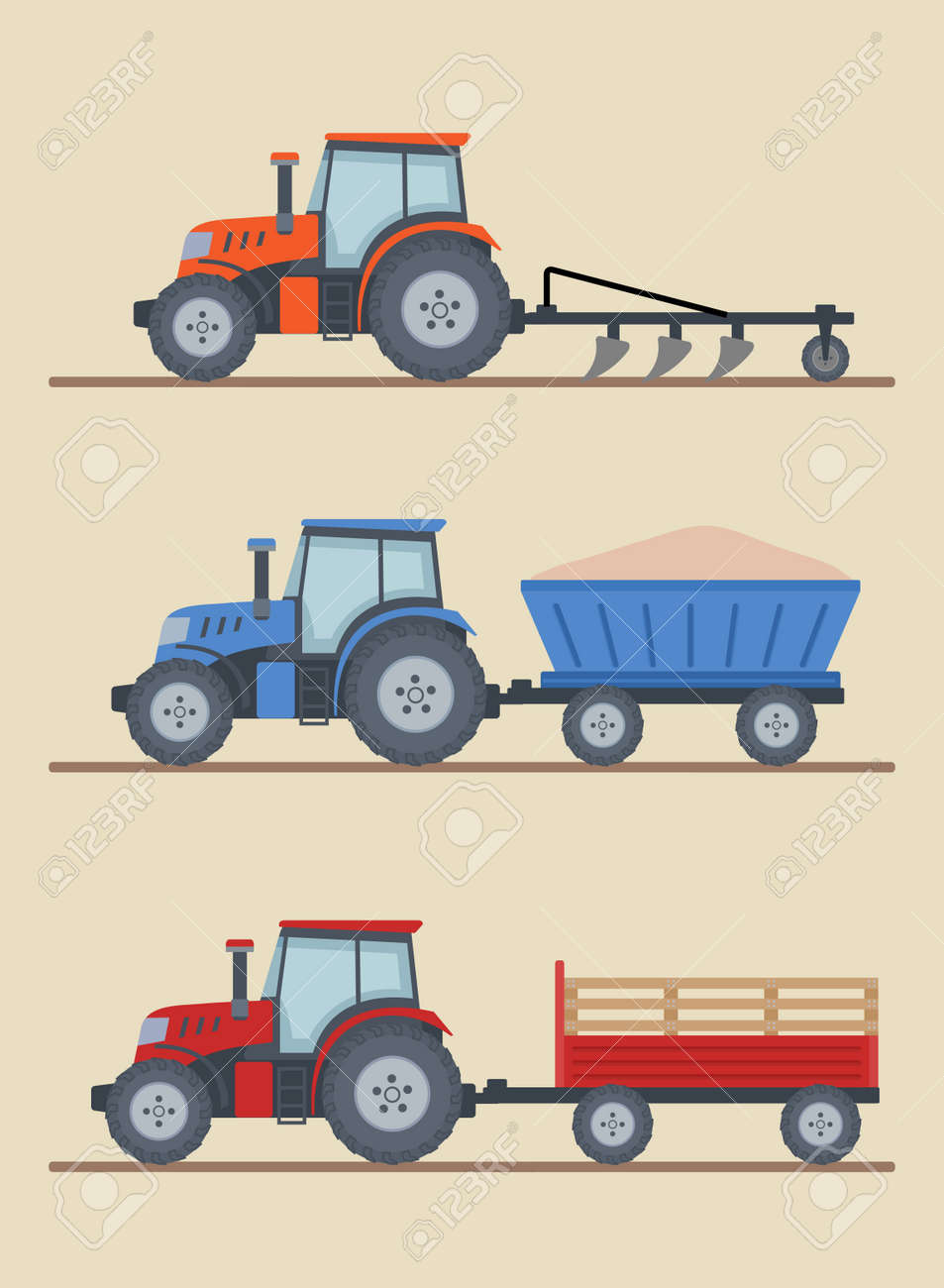 Three farm tractors isolated on beige background. Heavy agricultural machinery for field work. Flat style, vector illustration. - 155760527